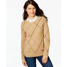 Tommy Hilfiger Multicolor Argyle Sweater (140 BAM) ❤ liked on Polyvore featuring tops, sweaters, tobacco, beige top, colorful sweaters, multi color sweater, tommy hilfiger sweaters and tommy hilfiger