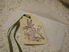 Once Upon a Spring Time Fairy Faerie Pink - vintage style, shabby chic style, hang tag, gift tag, mushroom, nature, magical - set of 6