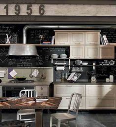 Industrial style kitchen-black walls and cream cupboards with exposed metal. Beautiful