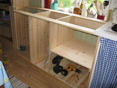 Butler Sink, Bunk Beds, Home Kitchens, Cottage, Cabin, Building, Open Plan, Diy, House
