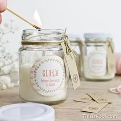candle jar different sizes Handmade Wedding Favours, Rustic Wedding Favors, Wedding Favor Bags, Handmade Soaps, Baptism Party Decorations, Baby Shower Centerpieces, Baptism Party Favors, Communion Favors, Baby Shower Backdrop