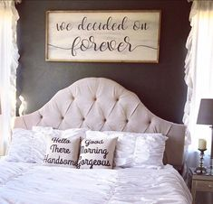 Master Bedroom Wall Sign / Above the bed wall decor Farmhouse wooden sign Modern home decorations - June 15 2019 at Bedroom Wall Decor Above Bed, Bedroom Signs, Bed Wall, Home Decor Bedroom, Bedroom Ideas, Dream Bedroom, Summer Bedroom, Bedroom Curtains, Bed Ideas