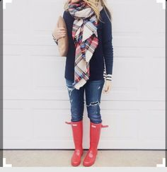 Red hunter boots with plaid blanket scarf...