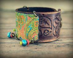 Recycled Tin and Leather Cuff, Boho Cuff Bracelet, Gypsy, Hippie Bracelet, Recycled Primitive Jewelry