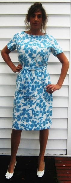 Vintage 1950s Turquoise Floral Wiggle Dress XS 0 2 by Flashbax, $65.00