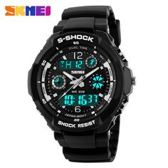 SKMEI Luxury Brand Military Analog Quartz And LED Digital Outdoor Waterproof Watches For Men