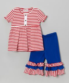 Look at this #zulilyfind! Red Stripe Tunic & Blue Capri Pants - Infant, Toddler & Girls by Whimsical by Molly Pop Inc. #zulilyfinds
