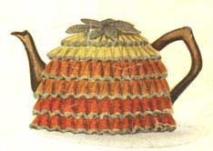 Knitted bell stitch tea cosy