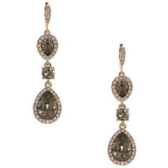 Givenchy Pave Teardrop Earrings (91 CAD) ❤ liked on Polyvore featuring jewelry, earrings, pink, rose gold tone earrings, green teardrop earrings, pave jewelry, teardrop shaped earrings and sparkle jewelry