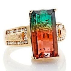 HSN - Rarities: Fine Jewelry with Carol Brodie Tourmaline Gold Ring with Diamond Accents – - Gems Jewelry, Gemstone Jewelry, Jewelry Box, Jewelry Accessories, Fine Jewelry, Jewelry Design, Diy Jewelry Tutorials, Tourmaline Jewelry, 14k Gold Ring