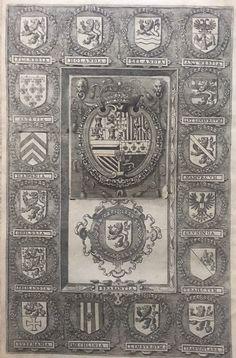 2 title pages - L. Guicciardini / Chr. Plantijn - De wapens van de XVII Provinciën, verschenen in de 'Descrittione di tutti i Paesi Bassi' op 1 blad - 1588