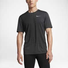 Nike Zonal Cooling Relay Graphic Men's Short Sleeve Running Top Size Large (Black)