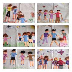 Los alumnos de 5 años elaboraron para el regalo de la madre un collage de su familia con rotuladores, lana y goma eva pagado sobre un mantel.Colegio Nstra. Sra. Santa María. Madrid