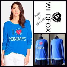 "❗️1-HOUR SALE❗️WILDFOX 'No Love For Monday' WILDFOX Sweatshirt 'No Love For Monday' New With Tags Retail Price: $108   * Super soft sweatshirt fabric.   * It measures about 24"" long.   * Crew Neck & long sleeves.  * Graphic print on front; A texture that is purposely subtly distressed/'washed'.  * A relaxed fit.    Fabric: Polyester, Cotton, & 6% Spandex  Color: Howl Blue Item: WF8500  No Trades No PayPal ✅ Authentic/Genuine ✅ ✅ Bundle Discounts   ✅ ✅ Offers Considered*✅  *Please use the…"
