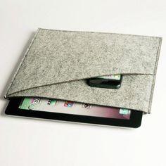 Tablet Cases, Felt iPad Case, Felt iPad Sleeve,Felt iPad Bag with pockets for iPhone and notebook, Bag for iPad - grey (512)