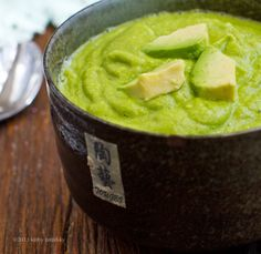 Easy Miso Avocado English Pea Soup. Bright Green. Fresh Flavor! The other link didn't show this recipe so hope this helps!