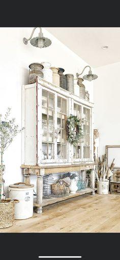 Shabby Chic Farmhouse, Farmhouse Style Kitchen, Farmhouse Decor, Cupboards, Cabinets, Home Living Room, Living Room Decor, Cottage Style Decor, Shabby Chic Furniture