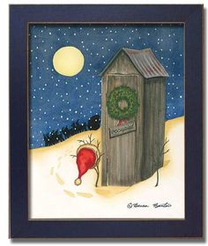 outhouse bathroom set | Details about Outhouse Santa Hat Christmas Bathroom Decor Art Framed