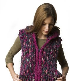 Hooded Ski Vest. Made on huge needles and chunky yarn so it will knit up really fast.