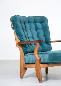 View this item and discover similar for sale at - Nice design for this pair of armchairs by Guillerme et Chambron model 'grand repos'. Produced by Votre Maison in Structure in oak with original Mid Century Chair, Midcentury Modern, 1950s, Accent Chairs, Cool Designs, Armchair, Interior Design, The Originals, Wood