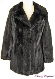 "Ranch Mink Jacket RM776; $800; Excellent Condition; Size range: 4 - 8 Petite. This is a lovely genuine ranch mink fur jacket. It has a ""Designed in Paris for Leppert Roos"" label and features a large notched collar and straight sleeves.  It closes with beautiful black buttons. The mink of this jacket is very, very silky soft and you can feel the quality of the fur. Gorgeous! fursbychrys.com"