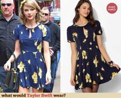 Taylor Swift's Blue floral keyhole front dress out in Manhattan. Outfit Details: http://wwtaylorw.com/3025