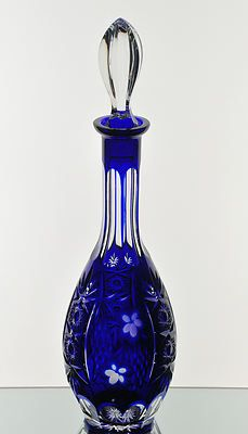 Nachtmann Traube Cobalt Blue Cut to Clear Crystal Wine Decanter 15 1 2"