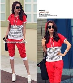 Find More   Information about Free shipping!2014 Summer Women's Sport Suit stripe short sleeve Leisure suit Sweater suit  Sports suit women sportswear women,High Quality  ,China   Suppliers, Cheap   from shaoning zhao's store on Aliexpress.com