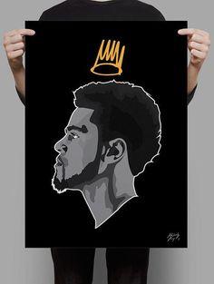 Cole Poster by AshReynoldsDesign on Etsy J Cole Art, Art Et Design, Hip Hop Art, Dope Art, Black Art, Art Inspo, Illustration Art, Illustrations, Art Photography