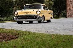 Ronnie Staples 1957 Chevy Bel Air 150 - Businessmans Special Super Chevy Magazine, Chevy Models, 1957 Chevy Bel Air, Yellow Car, Limited Slip Differential, Cylinder Head, Gto, Custom Leather, Corvette