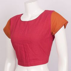 Hand Crafted Cotton Blouse With Back Opening 10014826- size 38 - AVISHYA.COM