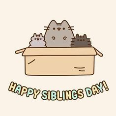 Happy National Siblings day from Pusheen, Stormy, and their new little brother, Pip! Tag your siblings!