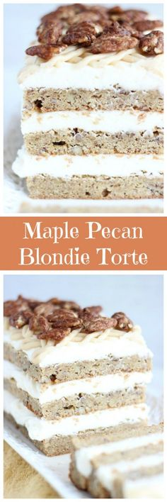 The richest and chewiest brown sugar maple pecan blondies, layered with maple cream cheese frosting!