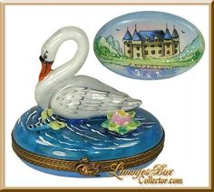 Swan w/ Water Lily & Dragonfly Limoges Box by Beauchamp