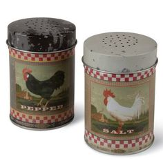 Rooster Salt & Pepper Shakers Vintage Metal Rustic Country Home Kitchen Decor  #OhioWholesale