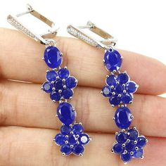 Long Real Blue Sapphire, White Topaz Ladies Wedding 925 Silver Earrings 60x13mm