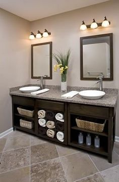 Love The Dark Cabinets With The Light Marble And Tile Bathroom Ideas Pinterest