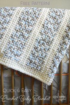 Quick  Easy Crochet Baby Blanket DIY Craft tutorial using Bernat Baby Blanket yarn. #crochet Bernat Baby Blanket, Blanket Yarn, Afghan Blanket, Baby Blanket Crochet, Crochet Baby, Easy Crochet, Single Crochet, Crochet For Baby, Baby Afghans