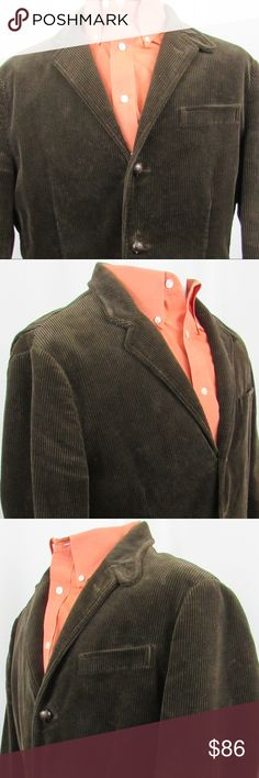 """Polo by Ralph Lauren corduroy sport jacket mens L Really nice chocolate brown sport jacket with leather wrapped buttons, single vented and button across the neck. Well made jacket inside and out. As for condition, I think it's really good. A little wear on the leather but please zoom way in all over to feel comfortable about color and condition. My best measurements:  Shoulder to shoulder: 19"""" PIt to pit: 23"""" Length: 31 1/2"""" Sleeve: 33 1/2""""  INV-H99-170456 Polo by Ralph Lauren Pants Corduroy"""