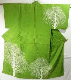 Silhouette Of White Birch Design Hitoe Tsukesage Kimono