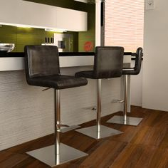 Bellini Modern Living Georgio Adjustable Height Swivel Bar Stool with Cushion Adjustable Bar Stools, Swivel Bar Stools, Counter Stools, Brown Bar Stools, Modern Bar Stools, Contemporary Bar, Contemporary Furniture, Cute Furniture, All Modern