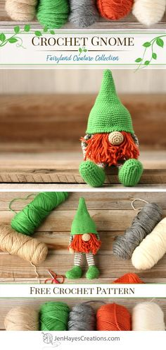 Crochet Gnome - Crochet Gnome Meet Norbin Nibbleweed the orange bearded Gnome! A free crochet pattern for a cute gnome (or leprechaun if you wish). He's perfect as a toy, a gift, a decoration, or as a fun piece of festive holiday decor. Holiday Crochet, Crochet Gifts, Knit Or Crochet, Crochet Dolls, Amigurumi Free, Amigurumi Patterns, Knitting Patterns, Crochet Patterns, Knitting Projects