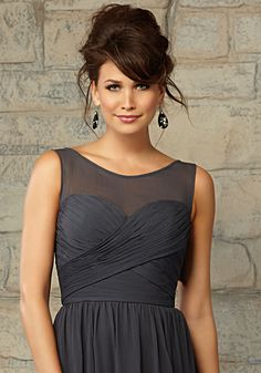 Luxe Chiffon Bridesmaid Dress with Illusion and Sweetheart Neckline Designed by…