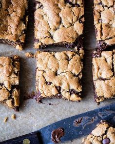 Almond Butter Chocolate Chip Cookie Bars on @the_feedfeed https://thefeedfeed.com/halfbakedharvest/almond-butter-chocolate-chip-cookie-bars