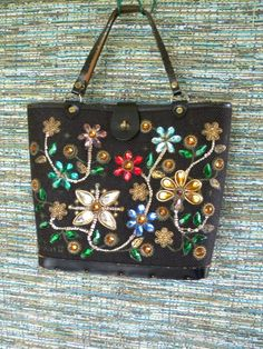 Vintage Enid Collins Black Jewel Garden II Handbag