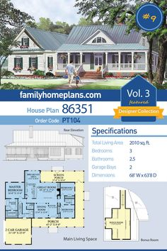 Southern Style House Plan 86351 with 3 Bed, 3 Bath, 2 Car Garage - House ideas - Garage House Plans, Cottage House Plans, New House Plans, House Floor Plans, Car Garage, Cottage Homes, Southern House Plans, Country House Plans, Farmhouse Plans