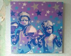 Items similar to Boxer kids painting canvas stencil art spray paints pop art boxing purple blue grey white afro american America stars abstract graffiti pop on Etsy Star Painting, Painting For Kids, Unique Paintings, Original Paintings, Pollock Paintings, Spray Paint On Canvas, Stencil Art, Stencils, Canvas Art