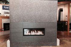 Bridger Steel printed metal interior siding on fireplace