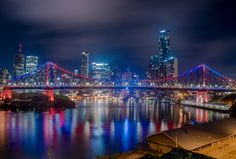 Brisbane lit up from Wilsons Lookout - Brisbane's Story Bridge was lit up in a…