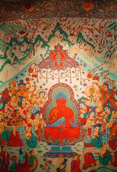 Amitabha Buddha in Sukhavati, the western pureland. Buddha Buddhism, Buddhist Art, Dalai Lama, Ajanta Caves, Lotus Sutra, Asian Artwork, Amitabha Buddha, Dunhuang, Buddhist Traditions